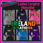 IRELAND 6 NATIONS RUGBY LADIES TEENAGERS LONGLINE HOODIE